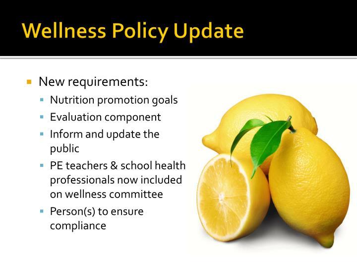 Wellness Policy Update