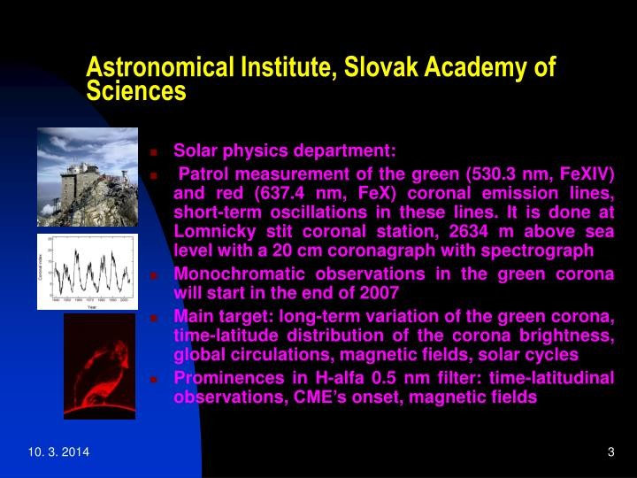 Astronomical institute slovak academy of sciences