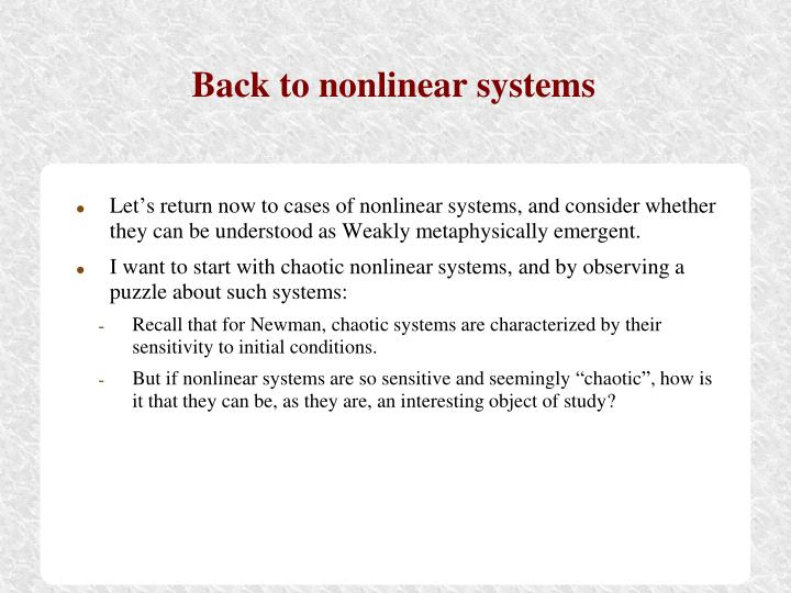 Back to nonlinear systems