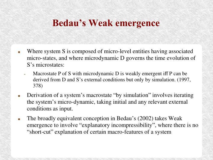 Bedau's Weak emergence