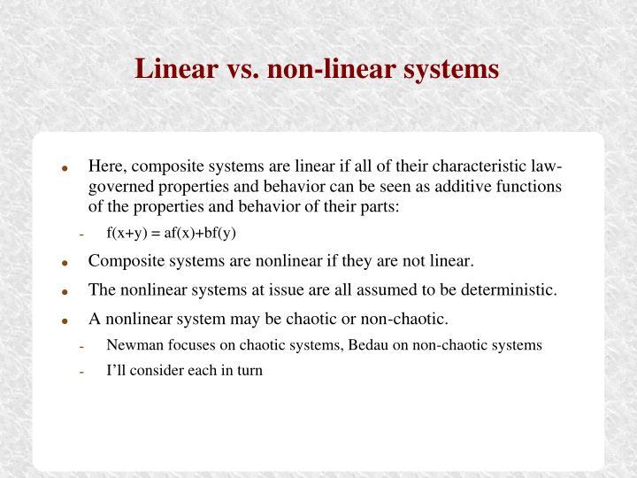 Linear vs. non-linear systems