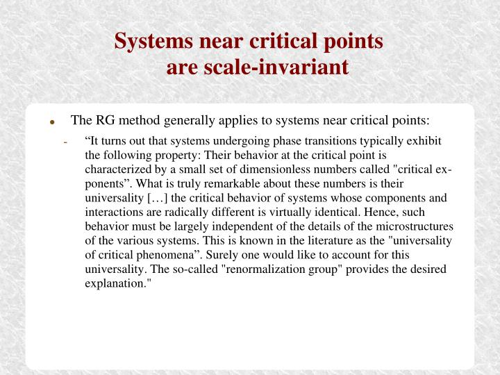 Systems near critical points