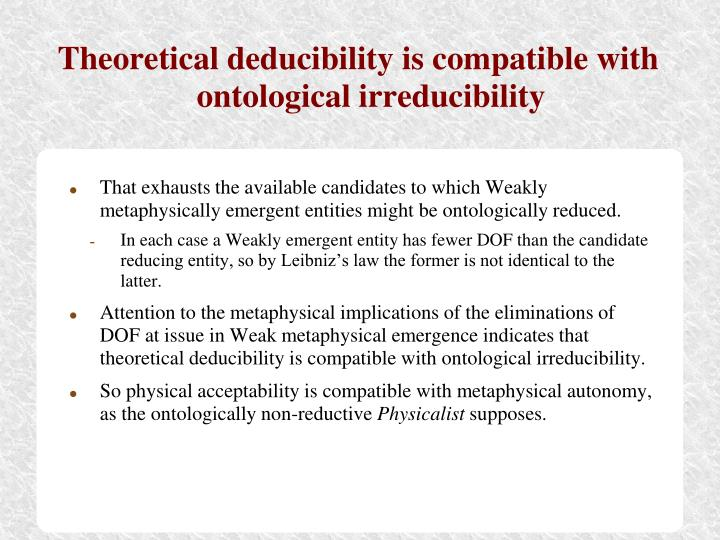 Theoretical deducibility is compatible with ontological irreducibility