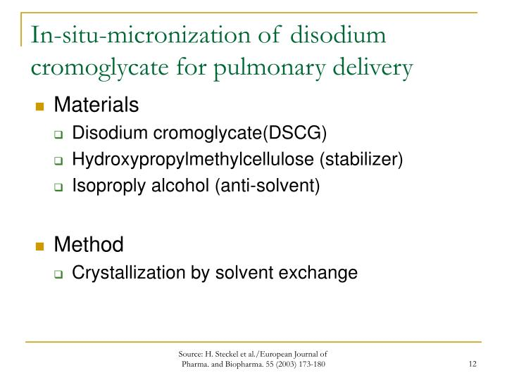 In-situ-micronization of disodium cromoglycate for pulmonary delivery