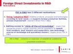 foreign direct investments in r d motivations