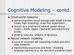 cognitive modeling contd