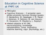 education in cognitive science at fmfi uk