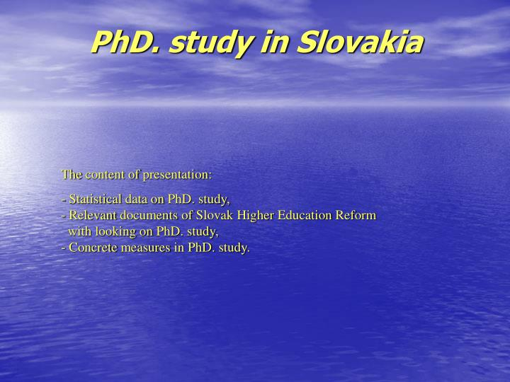 Phd study in slovakia