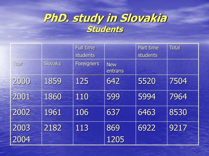 Phd study in slovakia students
