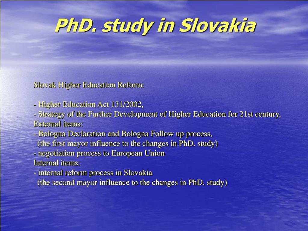 PhD. study in Slovakia