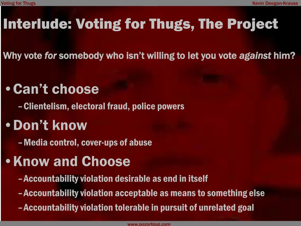 Interlude: Voting for Thugs, The Project