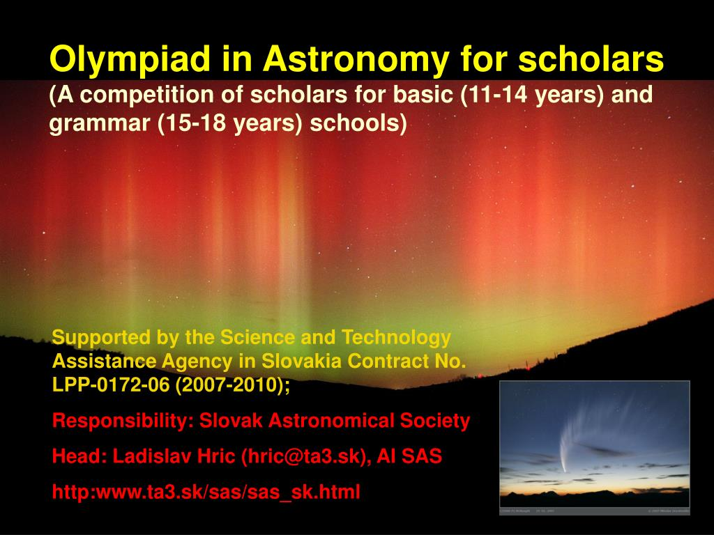 Olympiad in Astronomy for scholars