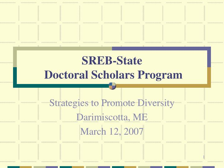 sreb state doctoral scholars program n.