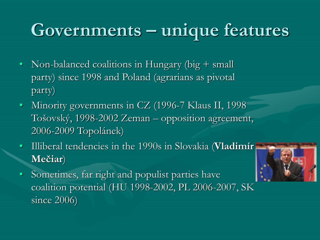 Governments – unique features