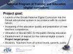national program of training and education digital curriculum