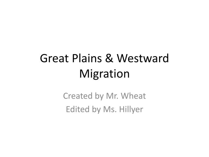 great plains westward migration n.