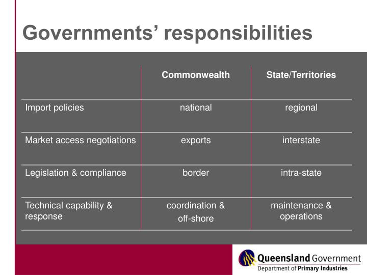 Governments responsibilities