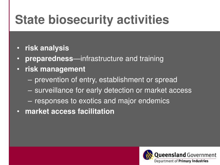 State biosecurity activities
