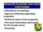 problems in keeping task force functioning