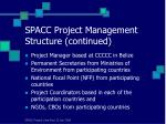 spacc project management structure continued