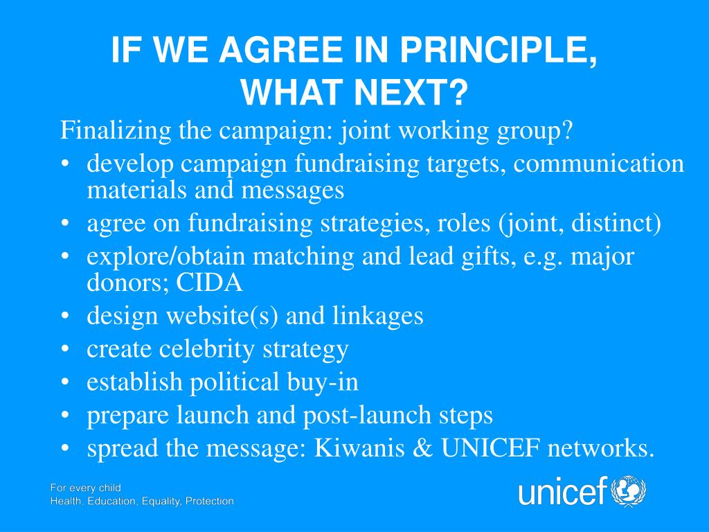 IF WE AGREE IN PRINCIPLE, WHAT NEXT?