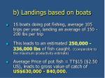 b landings based on boats