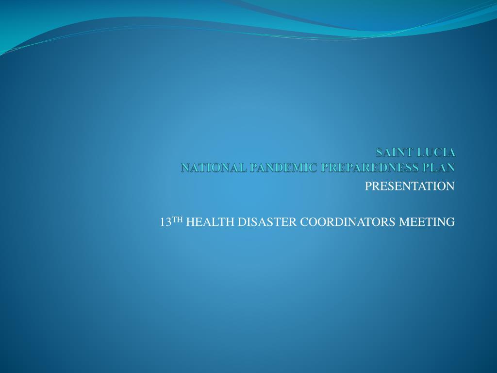 saint lucia national pandemic preparedness plan l.