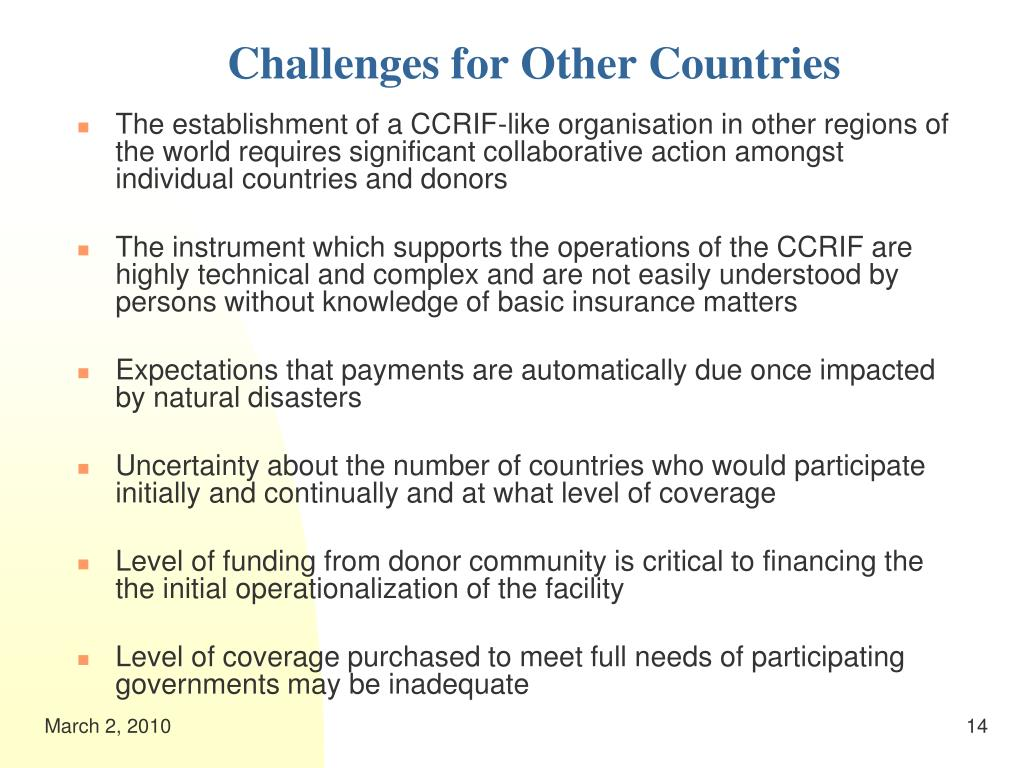 Challenges for Other Countries