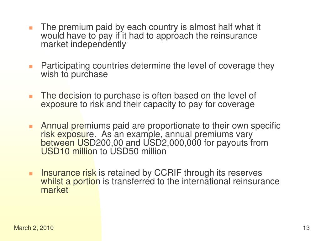 The premium paid by each country is almost half what it would have to pay if it had to approach the reinsurance market independently