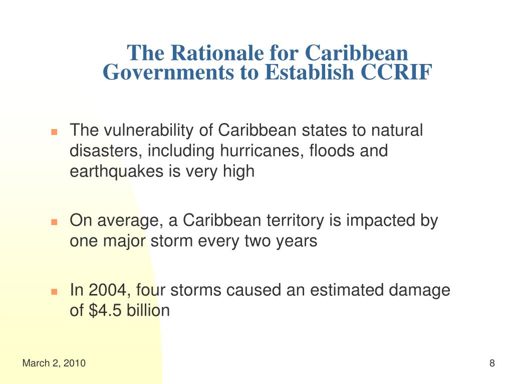 The Rationale for Caribbean Governments to Establish CCRIF