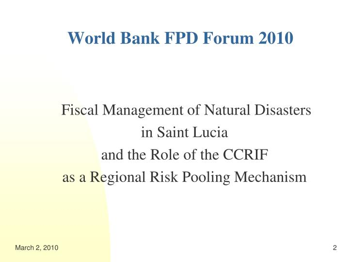 World bank fpd forum 20102