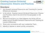 creating learner centered classrooms dreams and practices