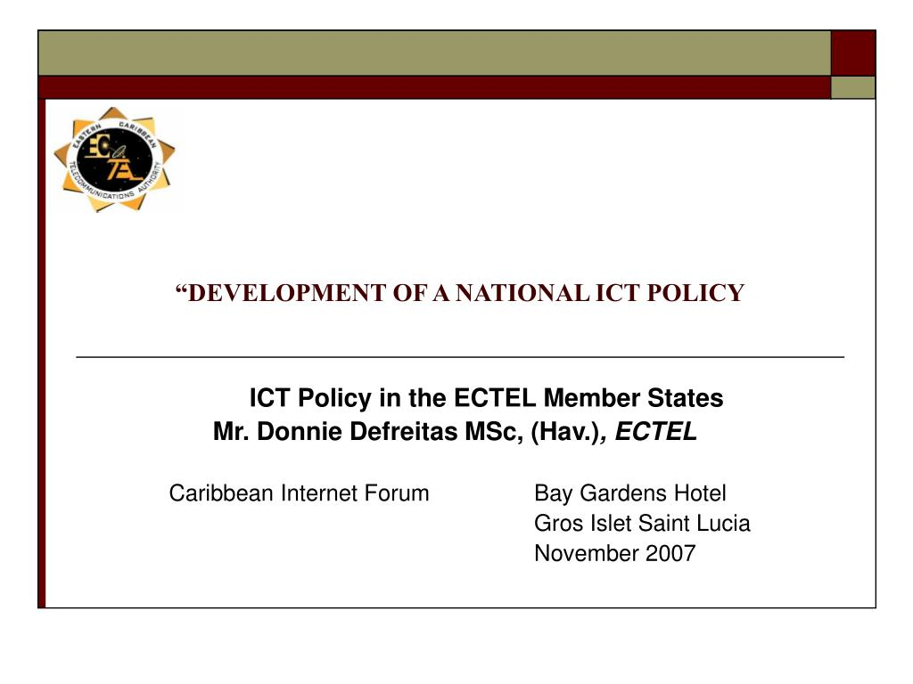 development of a national ict policy l.