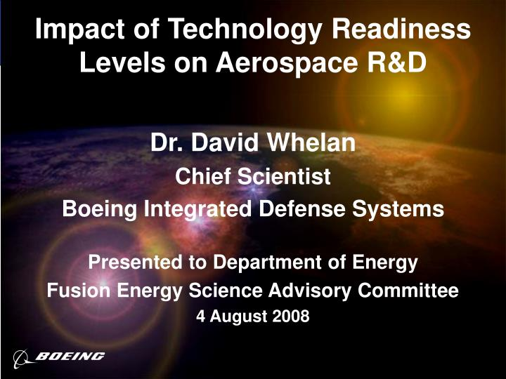 impact of technology readiness levels on aerospace r d n.