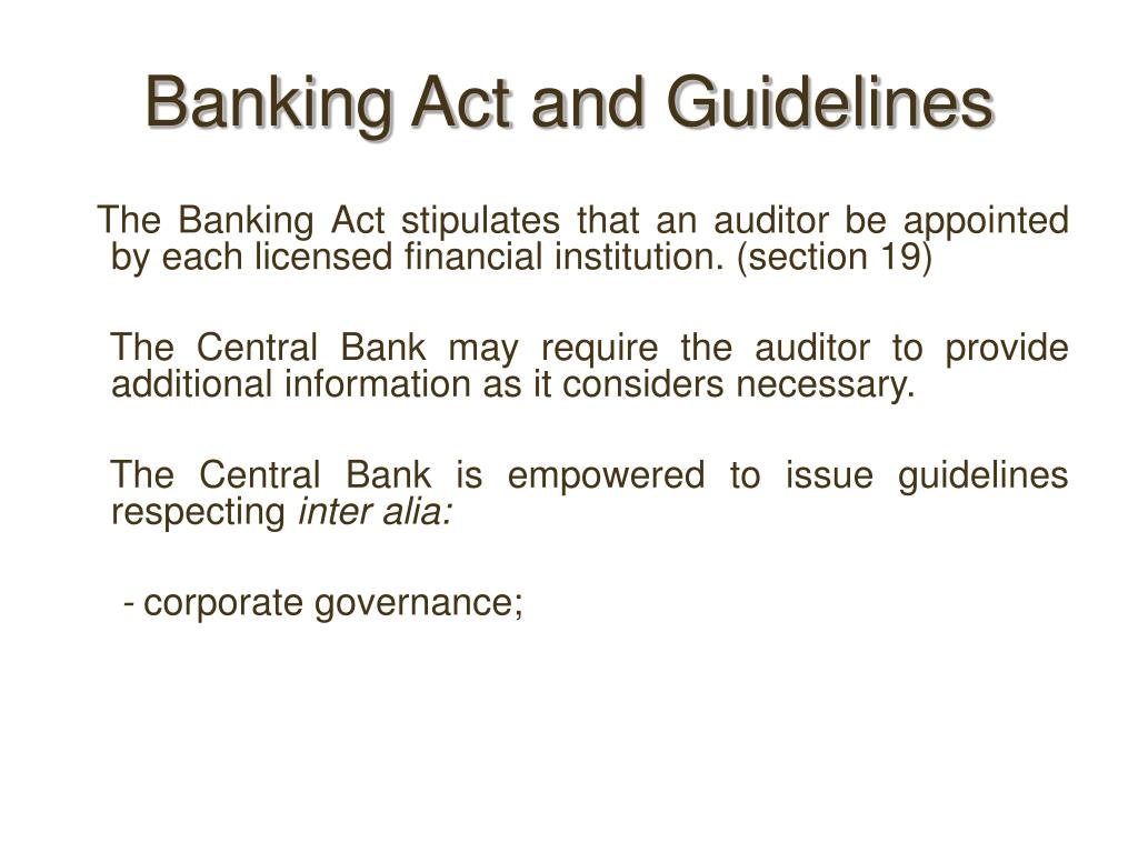 Banking Act and Guidelines