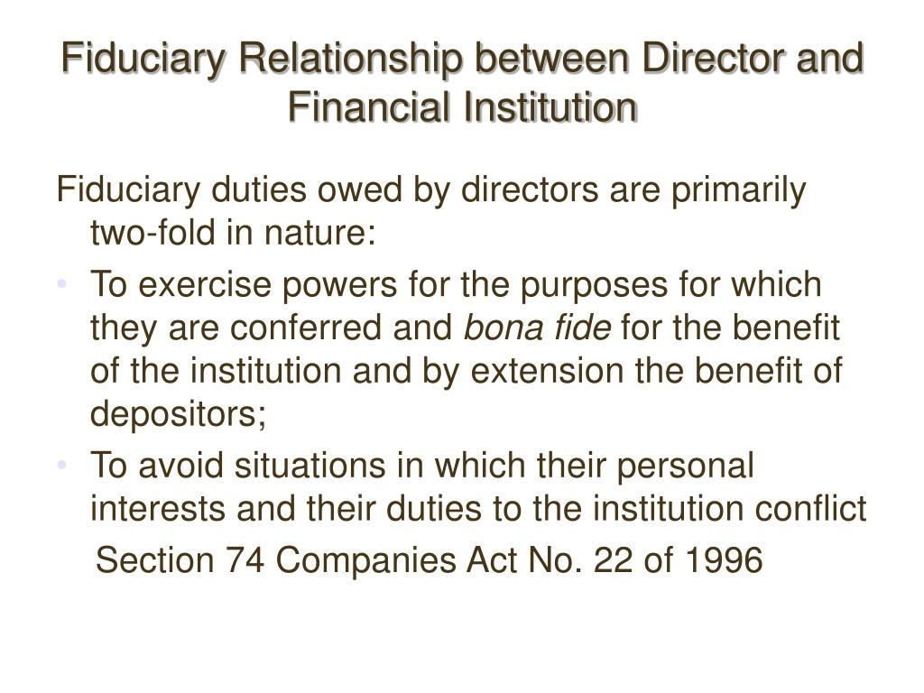 Fiduciary Relationship between Director and Financial Institution