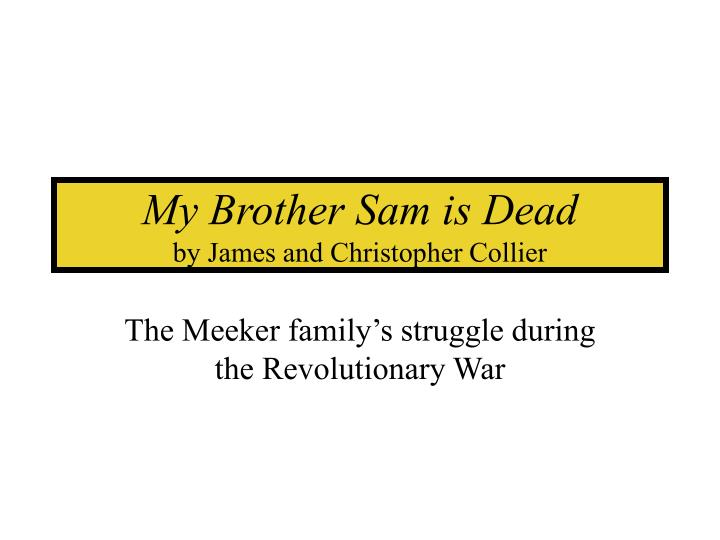 essay about my brother sam is dead My brother sam is dead essay examples 18 total results a summary of my brother sam is dead by james and christopher collier 1,664 words 4 pages.
