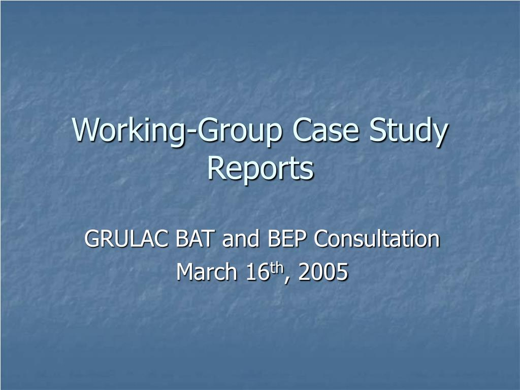 working group case study reports