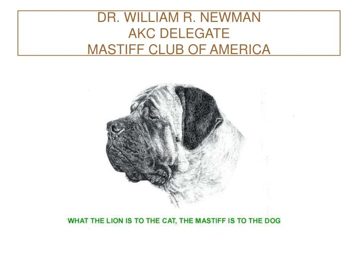 dr william r newman akc delegate mastiff club of america n.
