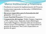 marco institucional y financiero