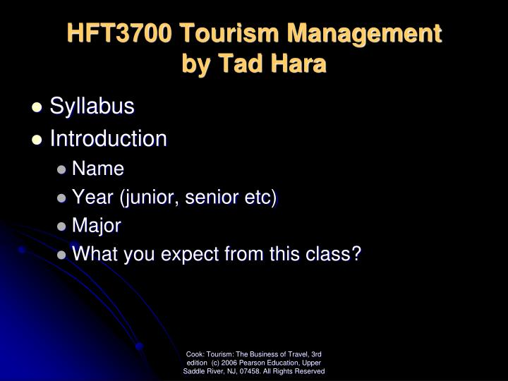hft3700 tourism management by tad hara n.