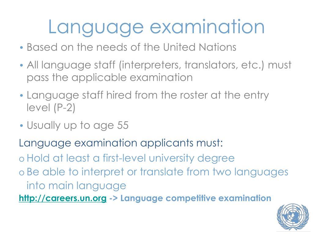 Language examination