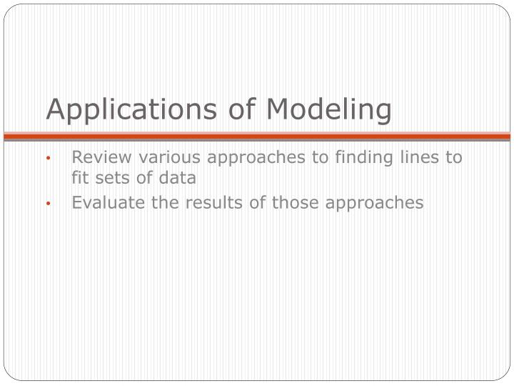 applications of modeling n.