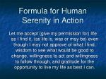 formula for human serenity in action