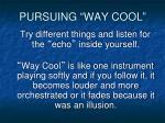 pursuing way cool