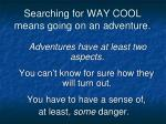 searching for way cool means going on an adventure