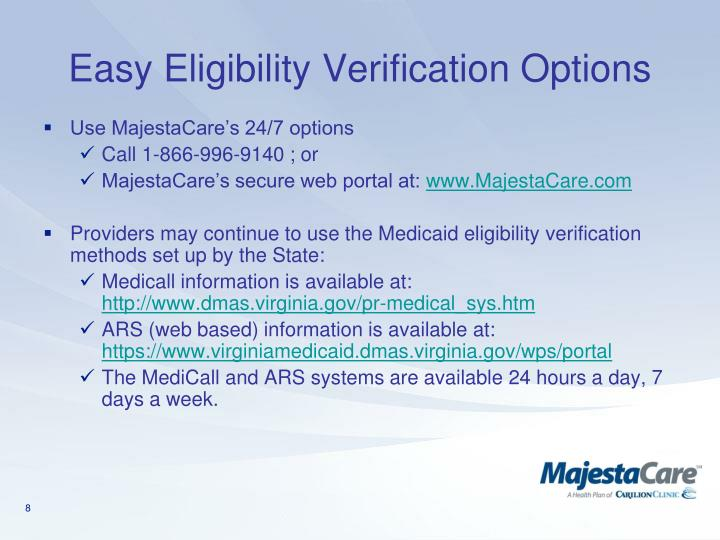 Easy Eligibility Verification Options