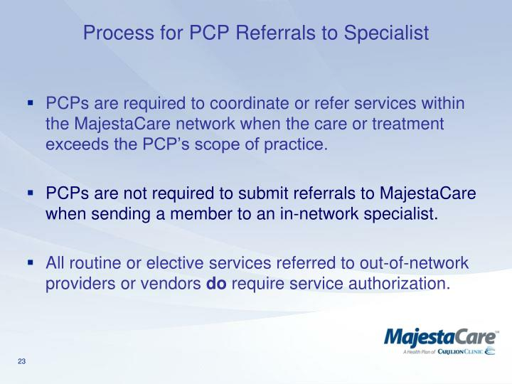 Process for PCP Referrals to Specialist