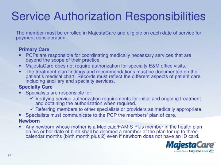 Service Authorization Responsibilities