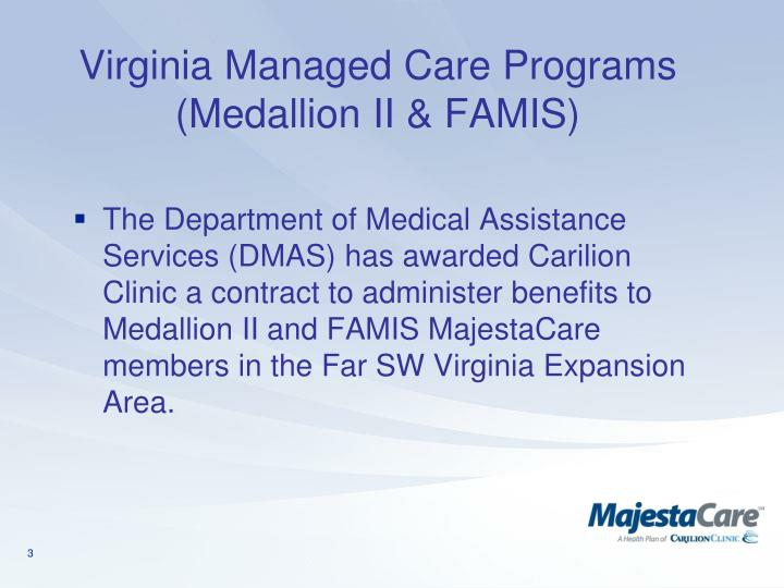 Virginia managed care programs medallion ii famis